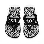 Personalizable Black White Damask Flip Flops