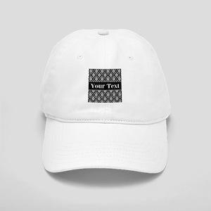 Personalizable Black White Damask Baseball Cap