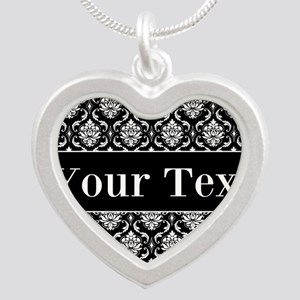Personalizable Black White Damask Necklaces