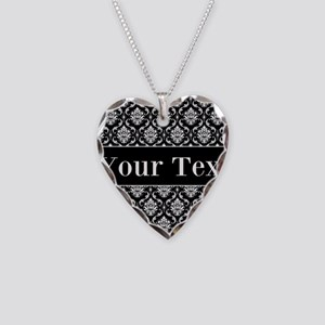 Personalizable Black White Damask Necklace
