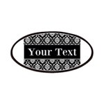 Personalizable Black White Damask Patches