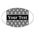 Personalizable Black White Damask Sticker