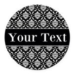 Personalizable Black White Damask Round Car Magnet