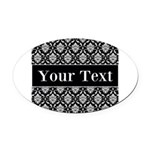Personalizable Black White Damask Oval Car Magnet