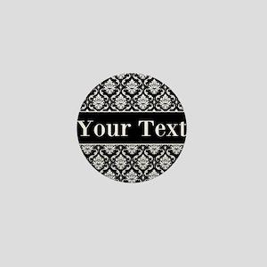 Personalizable Black White Damask Mini Button