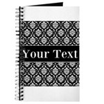 Personalizable Black White Damask Journal