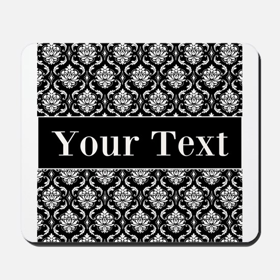 Personalizable Black White Damask Mousepad