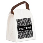Personalizable Black White Damask Canvas Lunch Bag