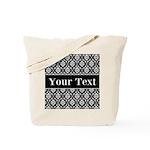 Personalizable Black White Damask Tote Bag