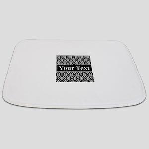 Personalizable Black White Damask Bathmat