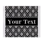 Personalizable Black White Damask Throw Blanket