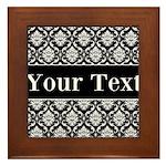 Personalizable Black White Damask Framed Tile