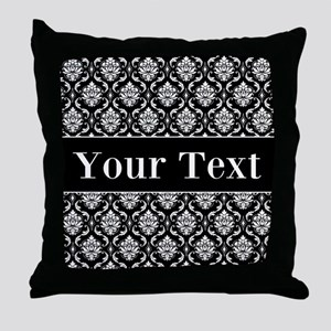 Personalizable Black White Damask Throw Pillow