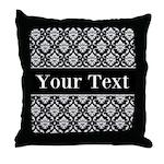 Personalizable Black White Damask Throw Pillow