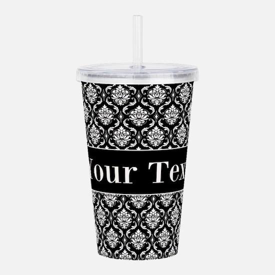 Personalizable Black White Damask Acrylic Double-w