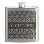 Personalizable Black White Damask Flask