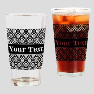 Personalizable Black White Damask Drinking Glass