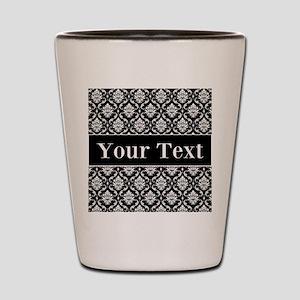 Personalizable Black White Damask Shot Glass