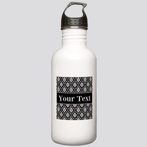 Personalizable Black White Damask Water Bottle