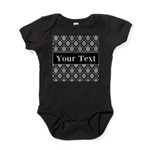 Personalizable Black White Damask Baby Bodysuit