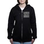 Personalizable Black White Damask Women's Zip Hood
