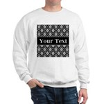 Personalizable Black White Damask Sweatshirt