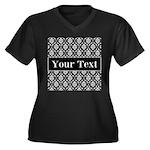 Personalizable Black White Damask Plus Size T-Shir