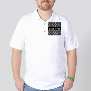 Personalizable Black White Damask Golf Shirt