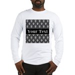 Personalizable Black White Damask Long Sleeve T-Sh