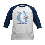 He'll Grow Into It Reversed G Kids Baseball Jerse