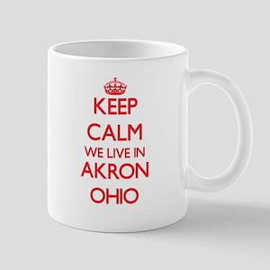 Keep calm we live in Akron Ohio Mugs