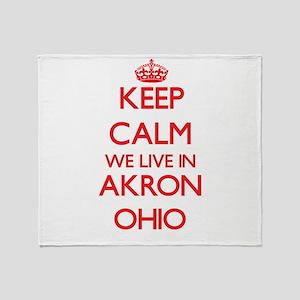 Keep calm we live in Akron Ohio Throw Blanket