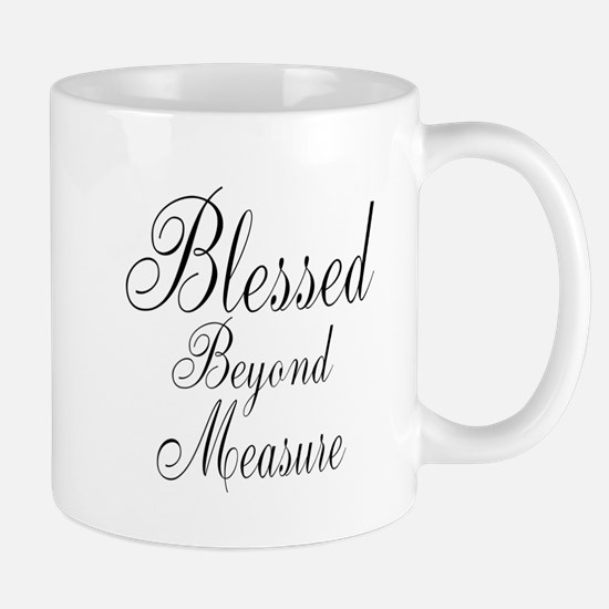 Blessed Beyond Measure Black Mugs