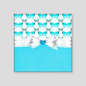 """Cute Light Blue Butterflies Square Sticker 3"""" x 3"""""""