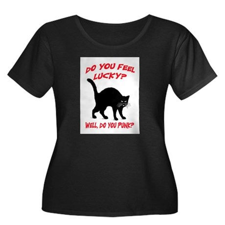 DO YOU FEEL LUCKY? (BLACK CAT) Women's Plus Size S