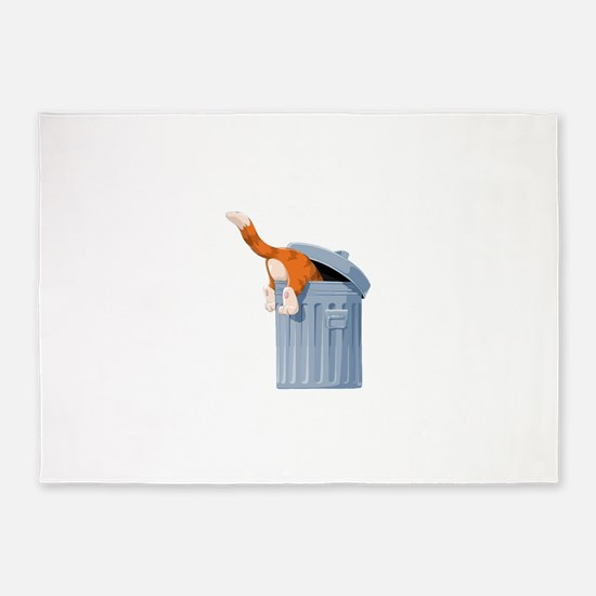 Cat in Trash Can 5'x7'Area Rug