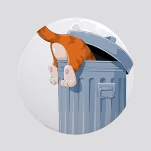 Cat in Trash Can Ornament (Round)