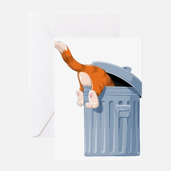 Cat in Trash Can Greeting Cards