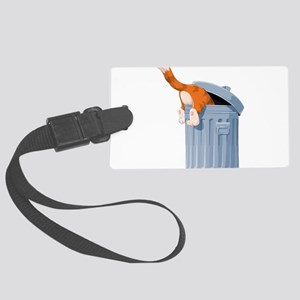 Cat in Trash Can Large Luggage Tag