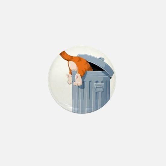 Cat in Trash Can Mini Button