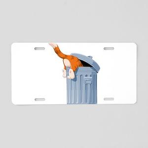Cat in Trash Can Aluminum License Plate