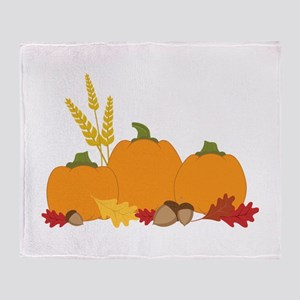 Three Harvest Pumpkins Throw Blanket