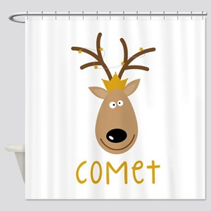 Comet Reindeer Shower Curtain