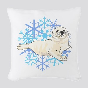 HARP SEAL SNOWFLAKES Woven Throw Pillow