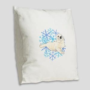 HARP SEAL SNOWFLAKES Burlap Throw Pillow