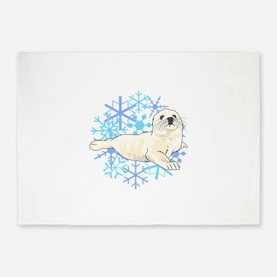 HARP SEAL SNOWFLAKES 5'x7'Area Rug