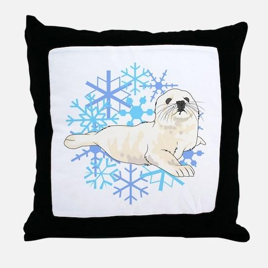 HARP SEAL SNOWFLAKES Throw Pillow