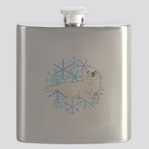 HARP SEAL SNOWFLAKES Flask