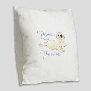 PROTECT AND PRESERVE Burlap Throw Pillow