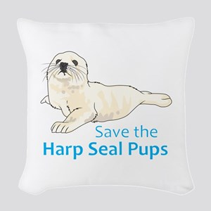 SAVE THE HARP SEAL PUPS Woven Throw Pillow